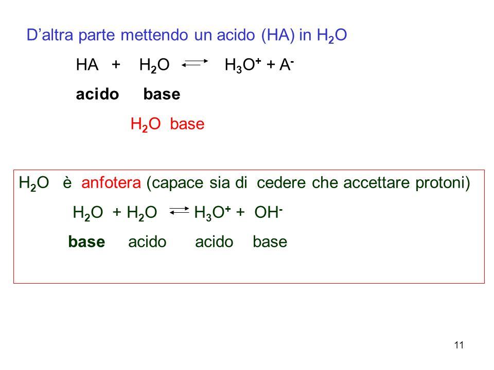 D'altra parte mettendo un acido (HA) in H2O