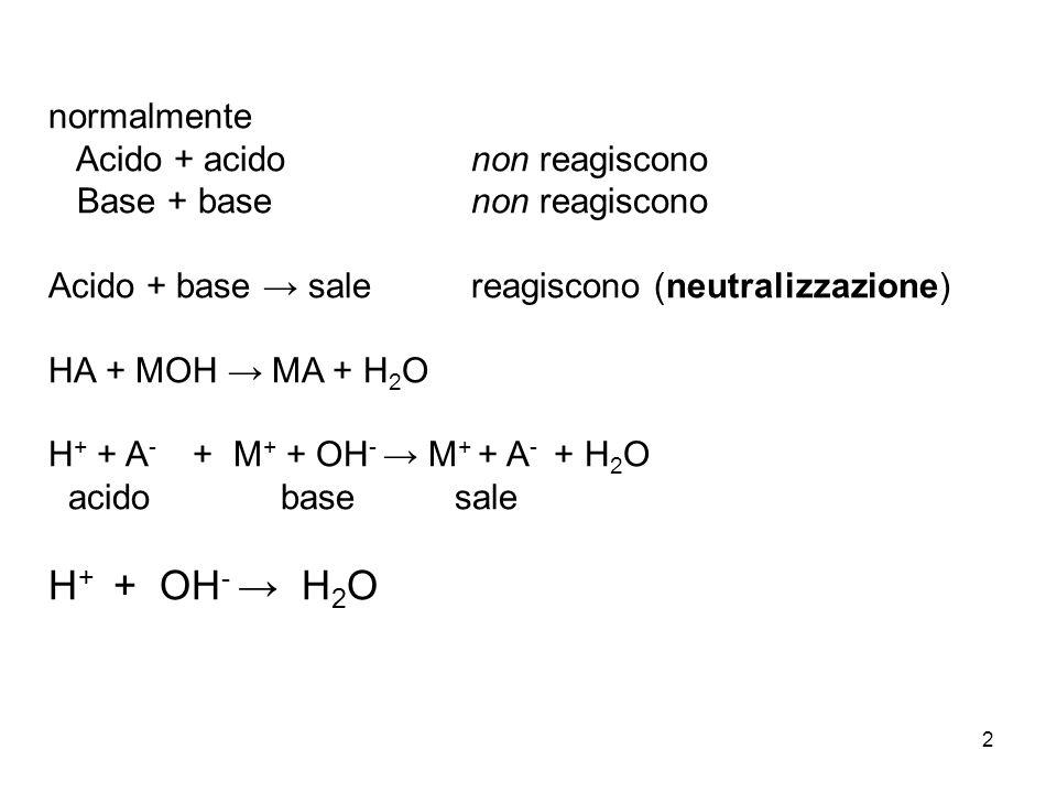 H+ + OH- → H2O normalmente Acido + acido non reagiscono