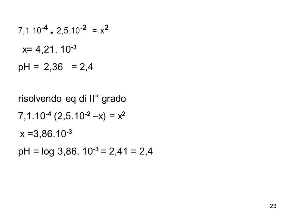x= 4,21. 10-3 pH = 2,36 = 2,4 risolvendo eq di II° grado