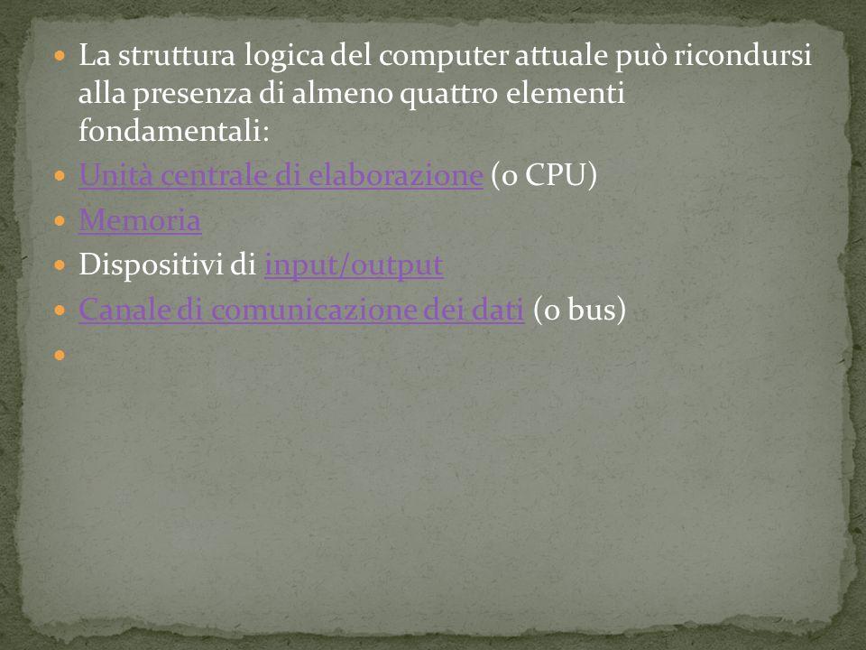 La struttura logica del computer attuale può ricondursi alla presenza di almeno quattro elementi fondamentali: