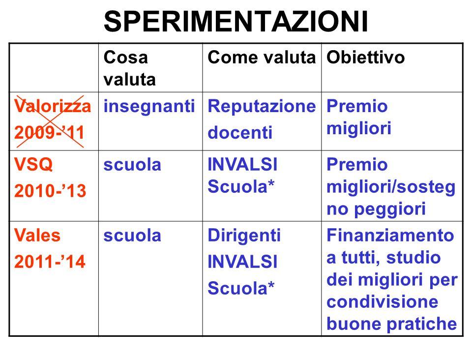 SPERIMENTAZIONI Cosa valuta Come valuta Obiettivo Valorizza 2009-'11