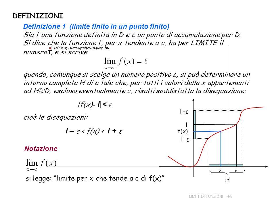 l – ε < f(x) < l + ε DEFINIZIONI