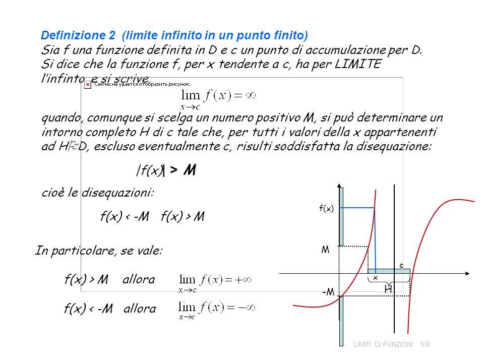 In particolare, se vale: f(x) > M allora f(x) < -M allora