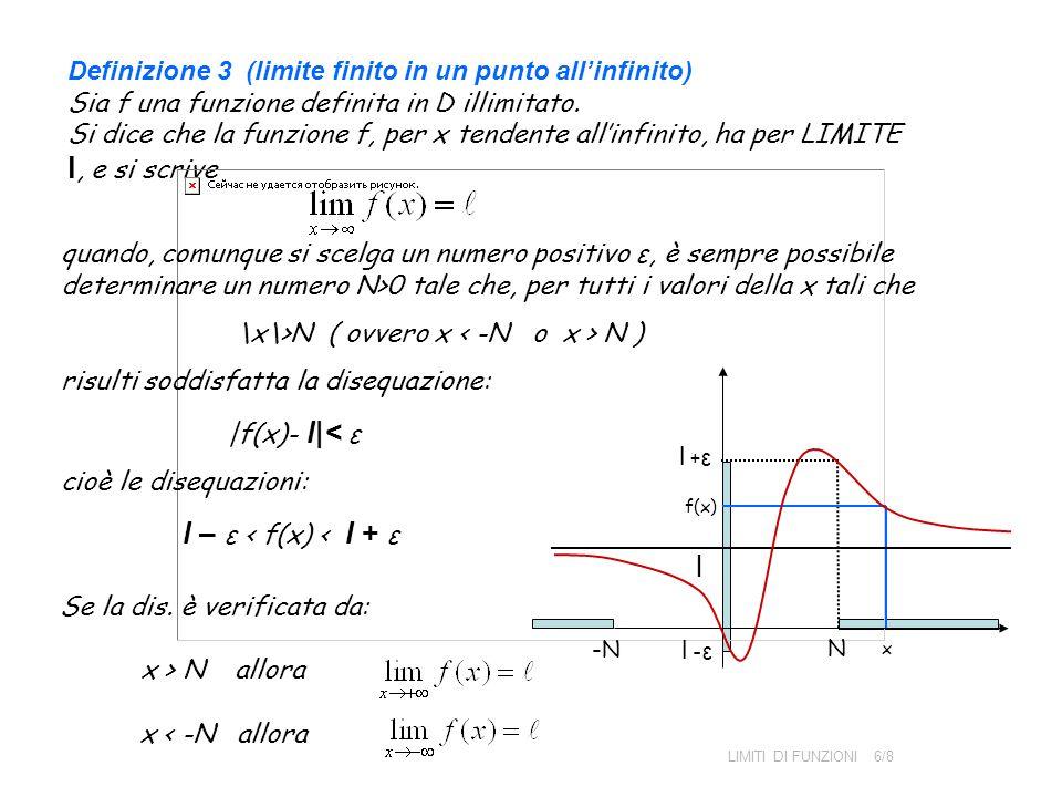 Definizione 3 (limite finito in un punto all'infinito) Sia f una funzione definita in D illimitato. Si dice che la funzione f, per x tendente all'infinito, ha per LIMITE l, e si scrive