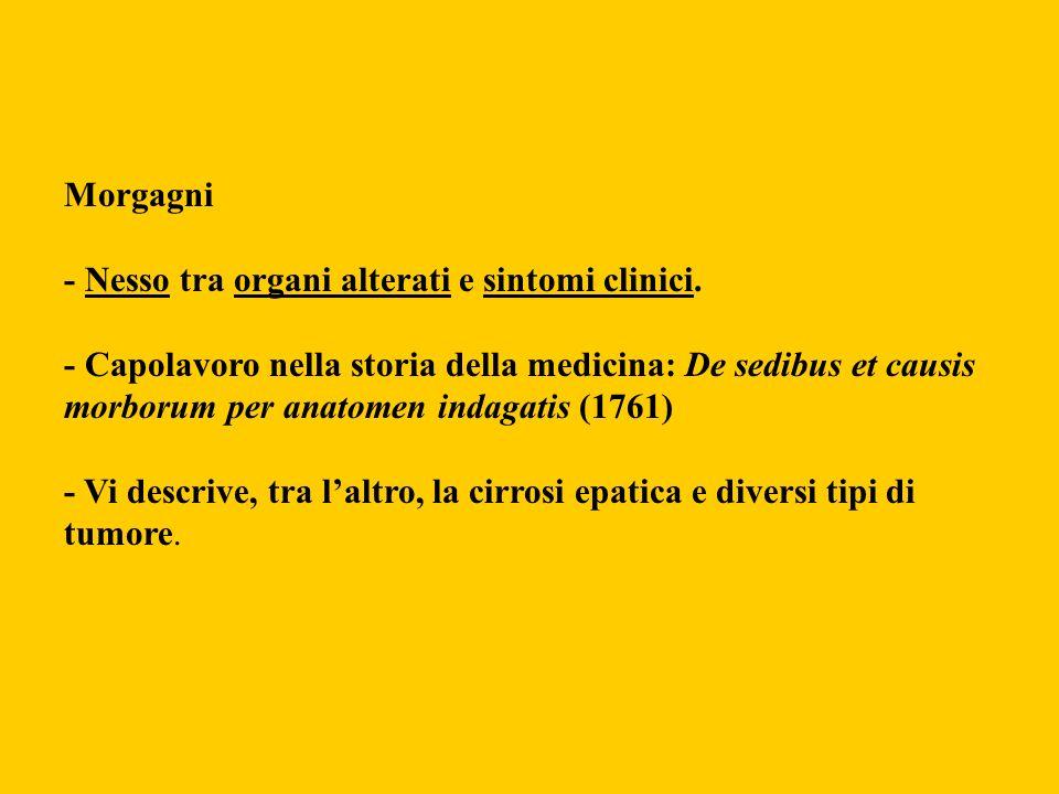 Morgagni- Nesso tra organi alterati e sintomi clinici.