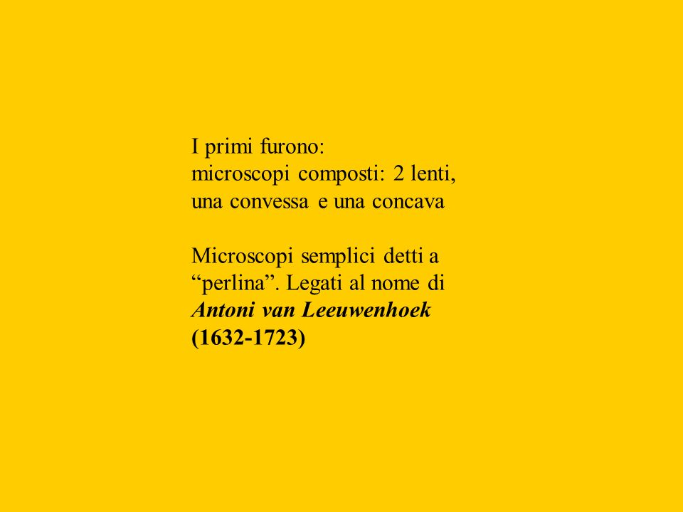 I primi furono: microscopi composti: 2 lenti, una convessa e una concava. Microscopi semplici detti a perlina . Legati al nome di.