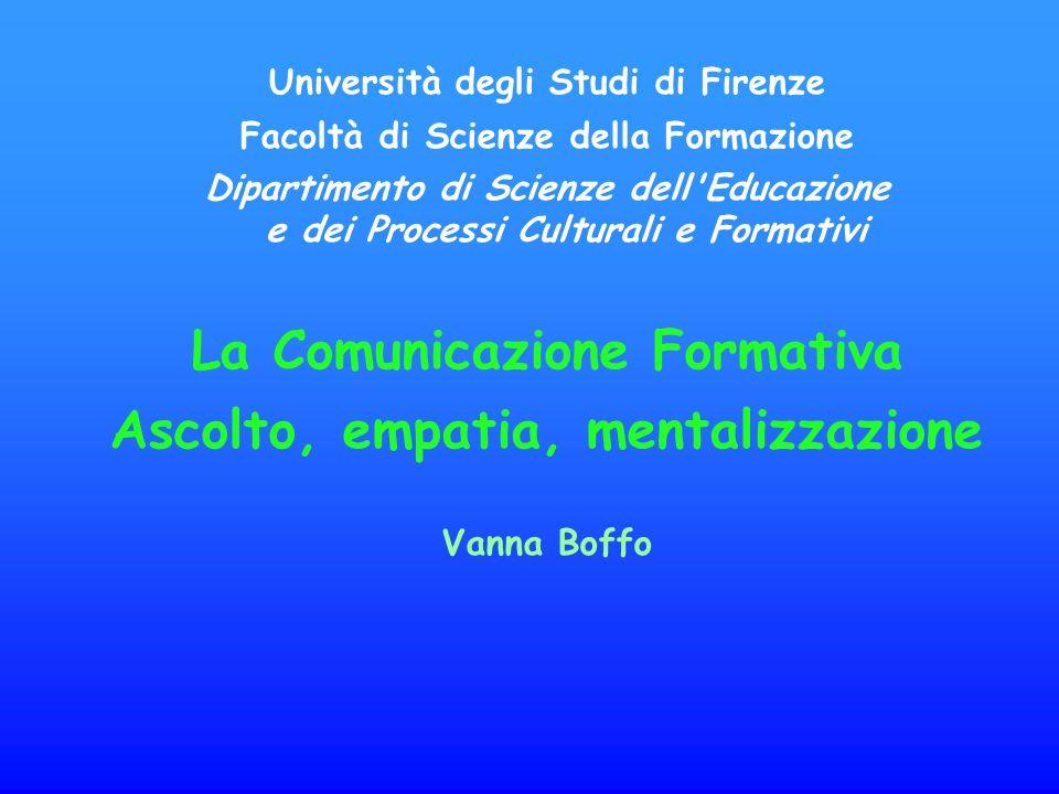 La Comunicazione Formativa Ascolto, empatia, mentalizzazione