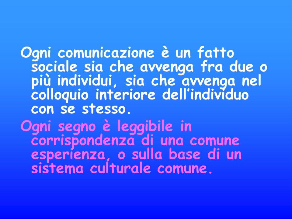 Ogni comunicazione è un fatto sociale sia che avvenga fra due o più individui, sia che avvenga nel colloquio interiore dell'individuo con se stesso.