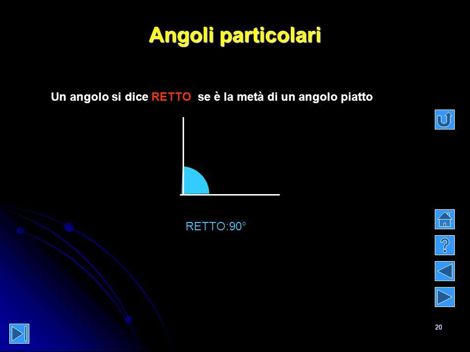 Angoli particolari Un angolo si dice RETTO se è la metà di un angolo piatto RETTO:90°