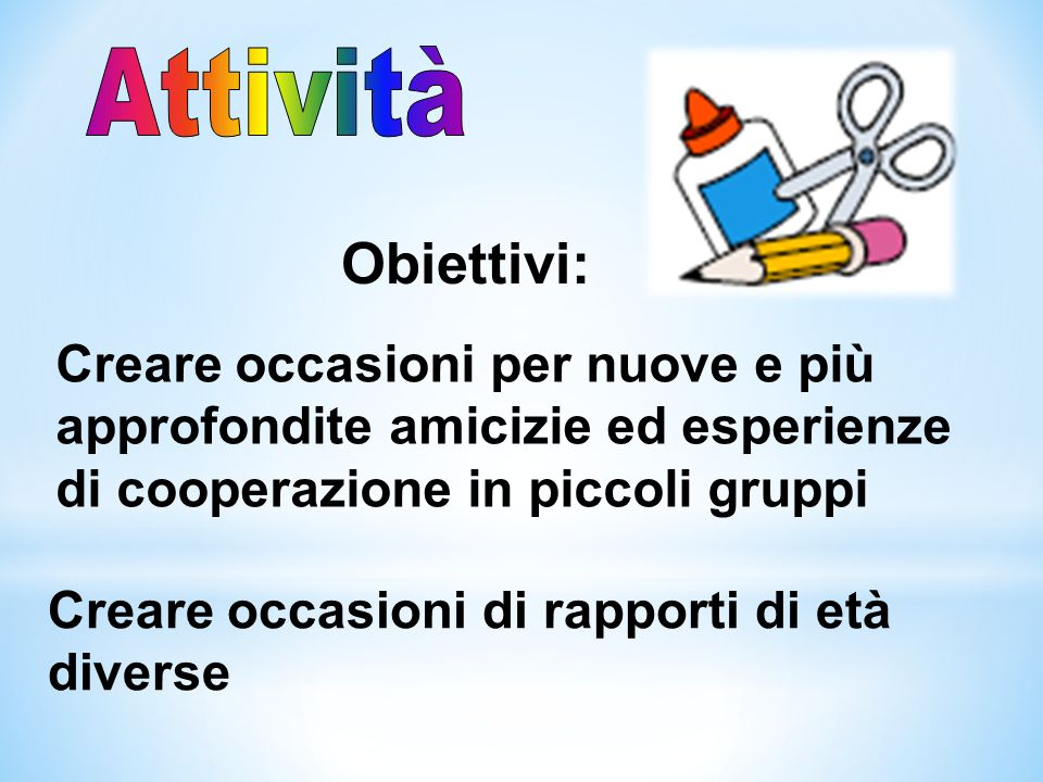 AttivitàObiettivi: Creare occasioni per nuove e più approfondite amicizie ed esperienze di cooperazione in piccoli gruppi.