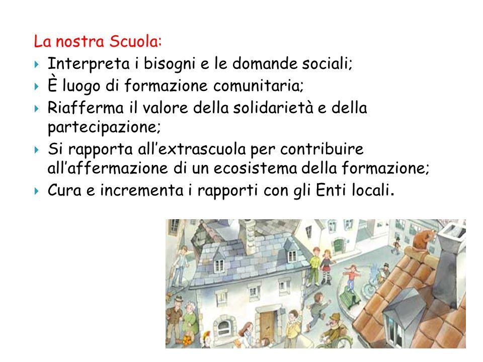 La nostra Scuola:Interpreta i bisogni e le domande sociali; È luogo di formazione comunitaria;