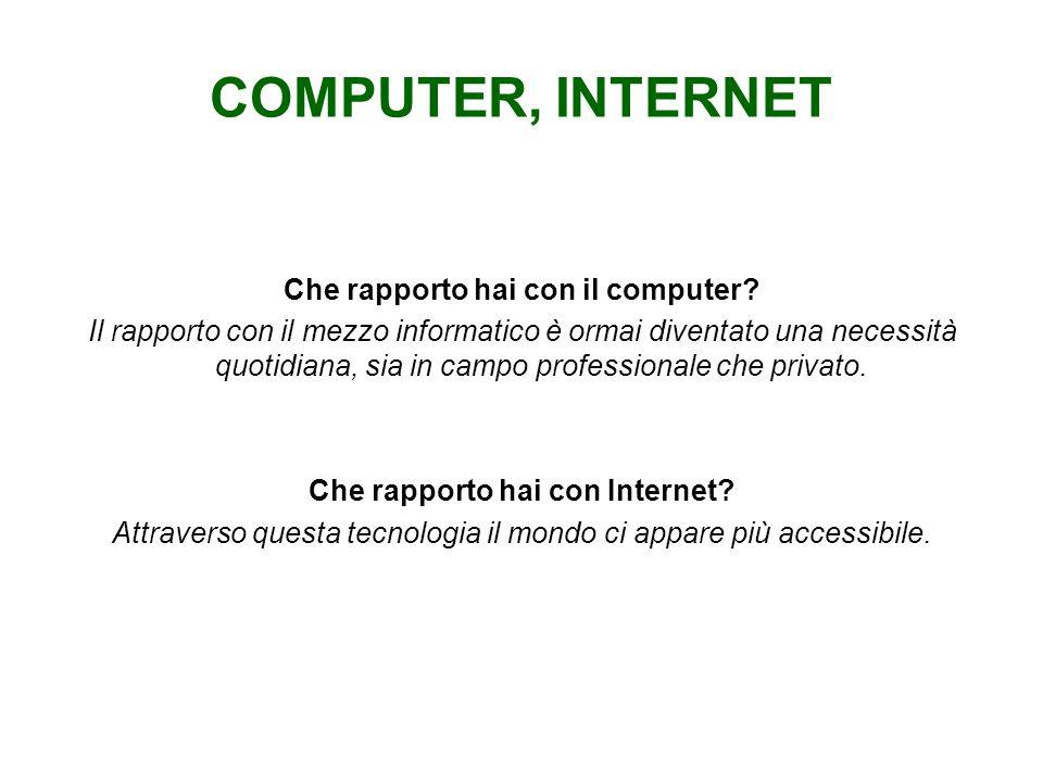 Che rapporto hai con il computer Che rapporto hai con Internet
