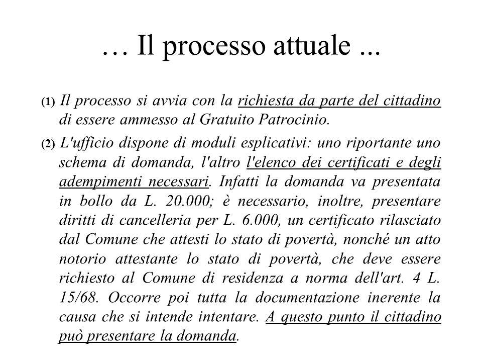 … Il processo attuale ... (1) Il processo si avvia con la richiesta da parte del cittadino di essere ammesso al Gratuito Patrocinio.