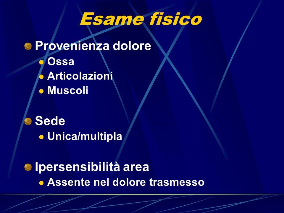 Esame fisico Provenienza dolore Sede Ipersensibilità area Ossa