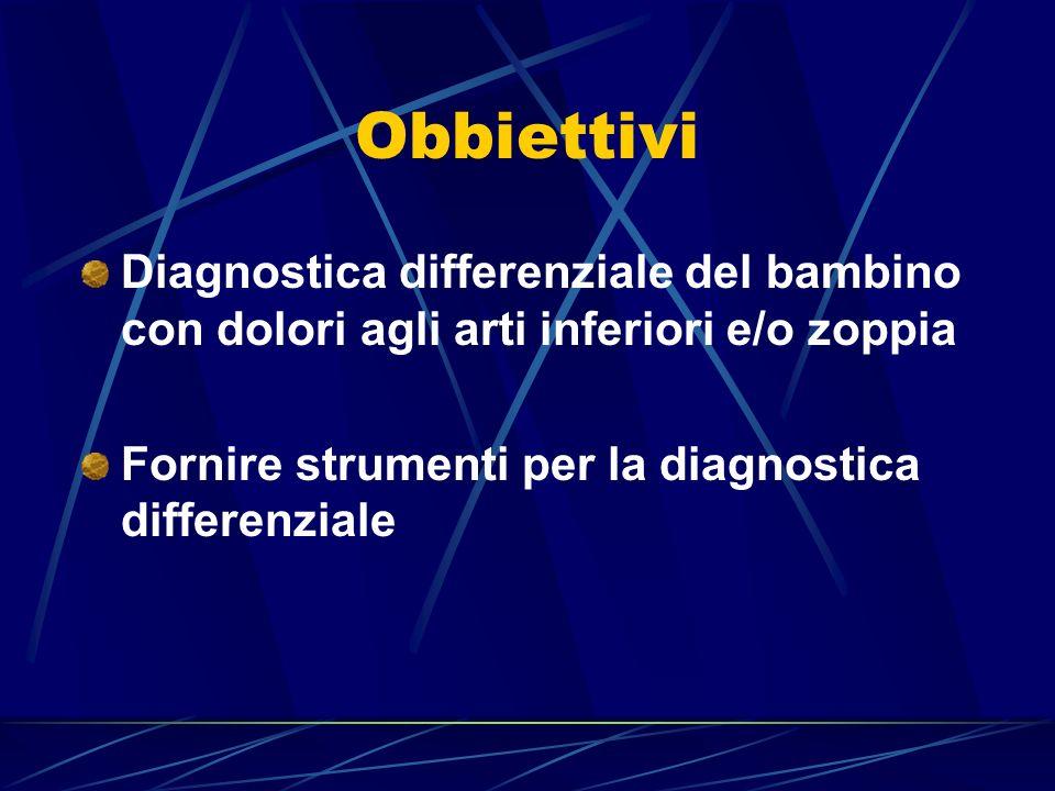 Obbiettivi Diagnostica differenziale del bambino con dolori agli arti inferiori e/o zoppia.