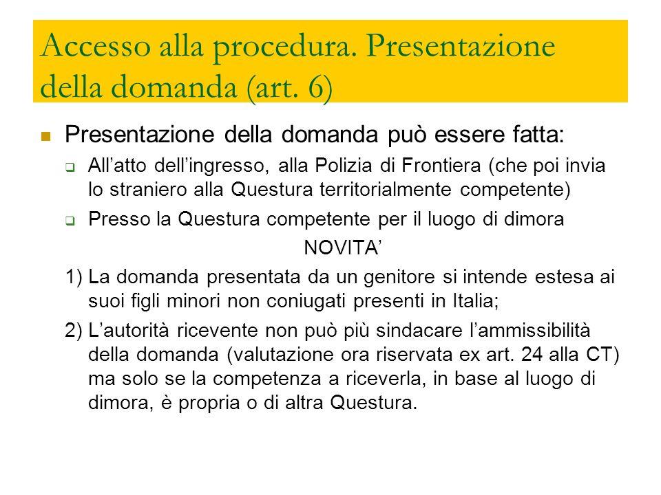 Accesso alla procedura. Presentazione della domanda (art. 6)