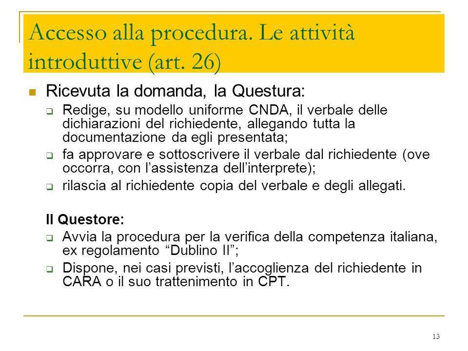 Accesso alla procedura. Le attività introduttive (art. 26)