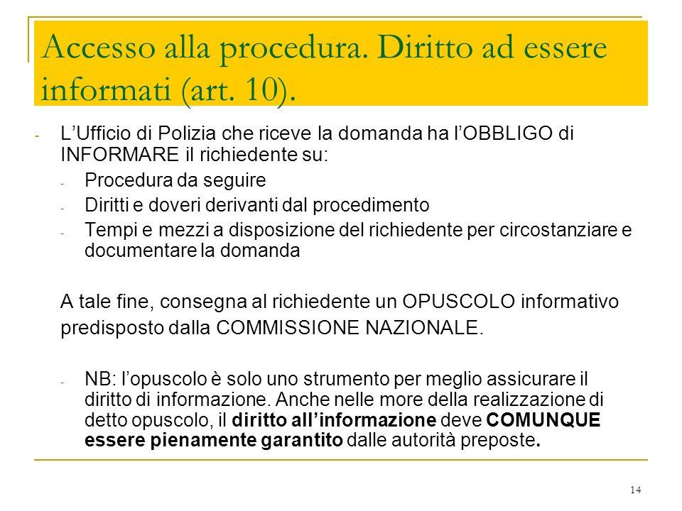 Accesso alla procedura. Diritto ad essere informati (art. 10).