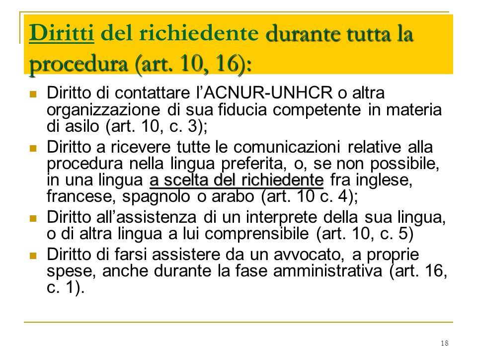 Diritti del richiedente durante tutta la procedura (art. 10, 16):