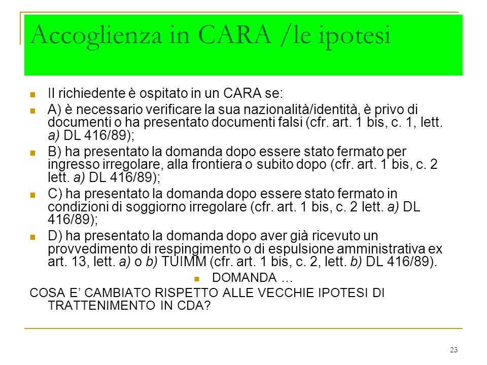 Accoglienza in CARA /le ipotesi