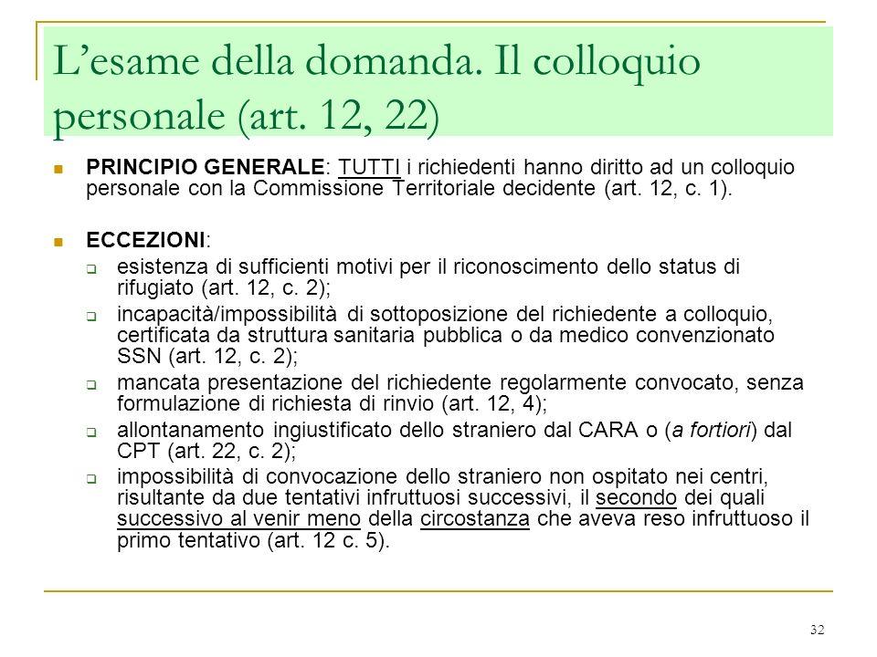 L'esame della domanda. Il colloquio personale (art. 12, 22)