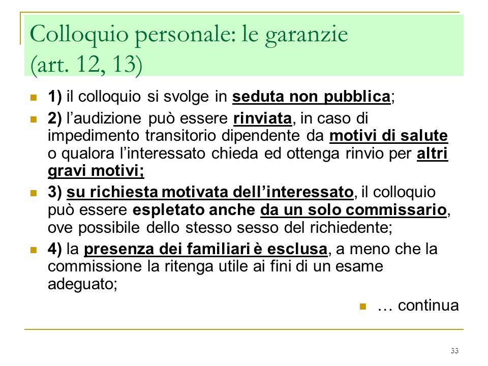 Colloquio personale: le garanzie (art. 12, 13)
