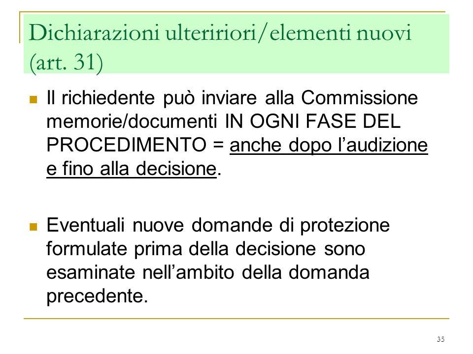 Dichiarazioni ulteririori/elementi nuovi (art. 31)