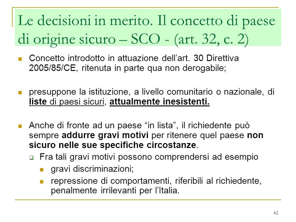 Le decisioni in merito. Il concetto di paese di origine sicuro – SCO - (art. 32, c. 2)