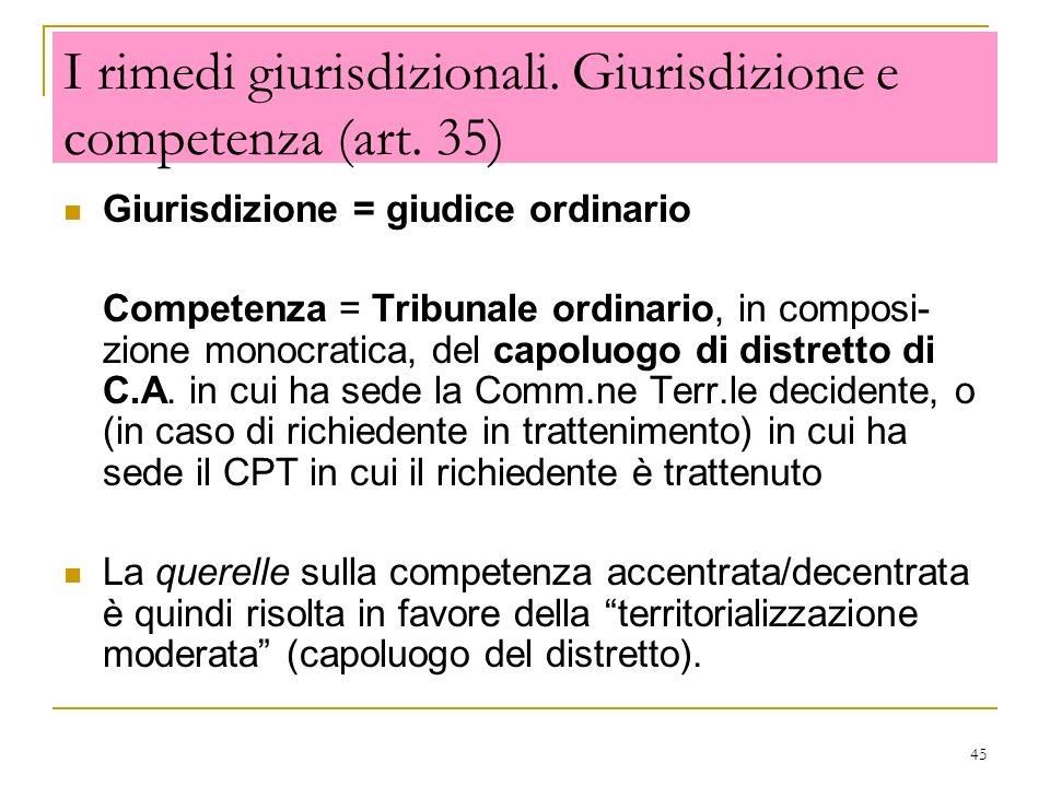 I rimedi giurisdizionali. Giurisdizione e competenza (art. 35)