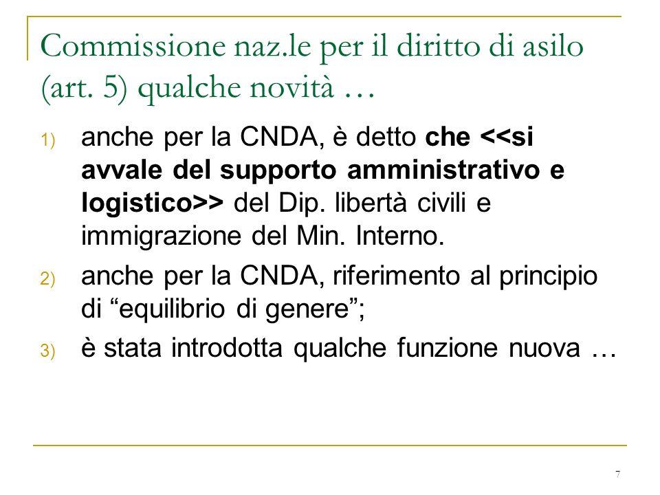 Commissione naz.le per il diritto di asilo (art. 5) qualche novità …