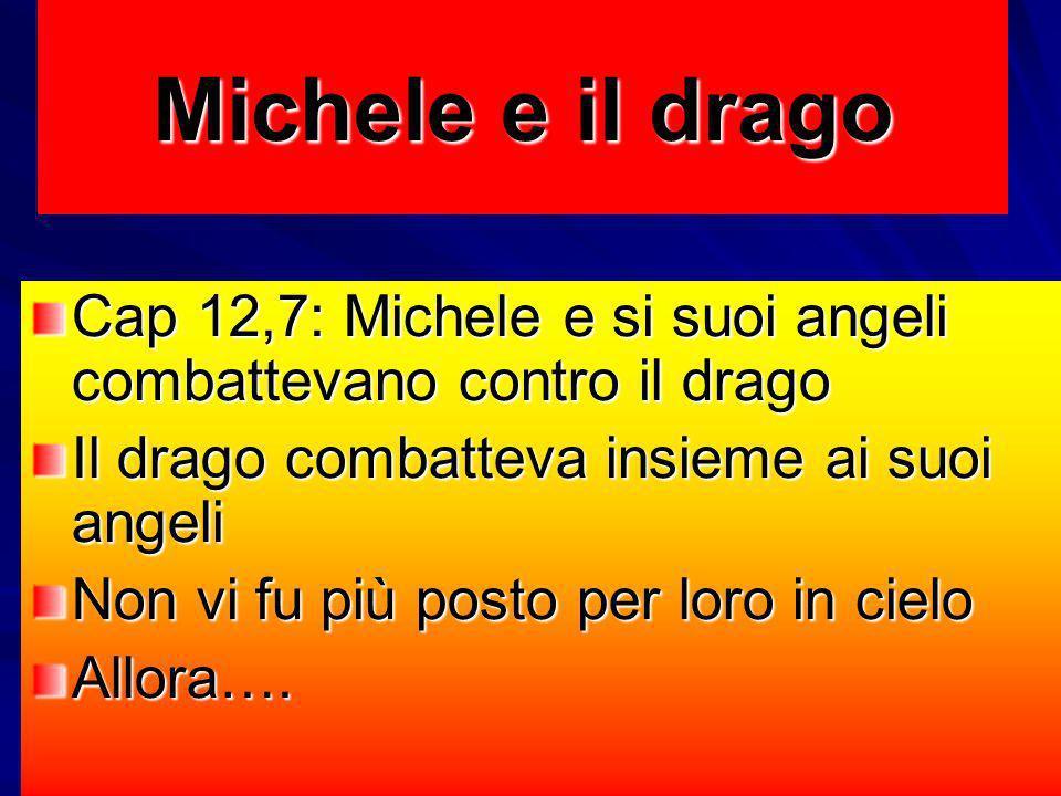 Michele e il drago Cap 12,7: Michele e si suoi angeli combattevano contro il drago. Il drago combatteva insieme ai suoi angeli.