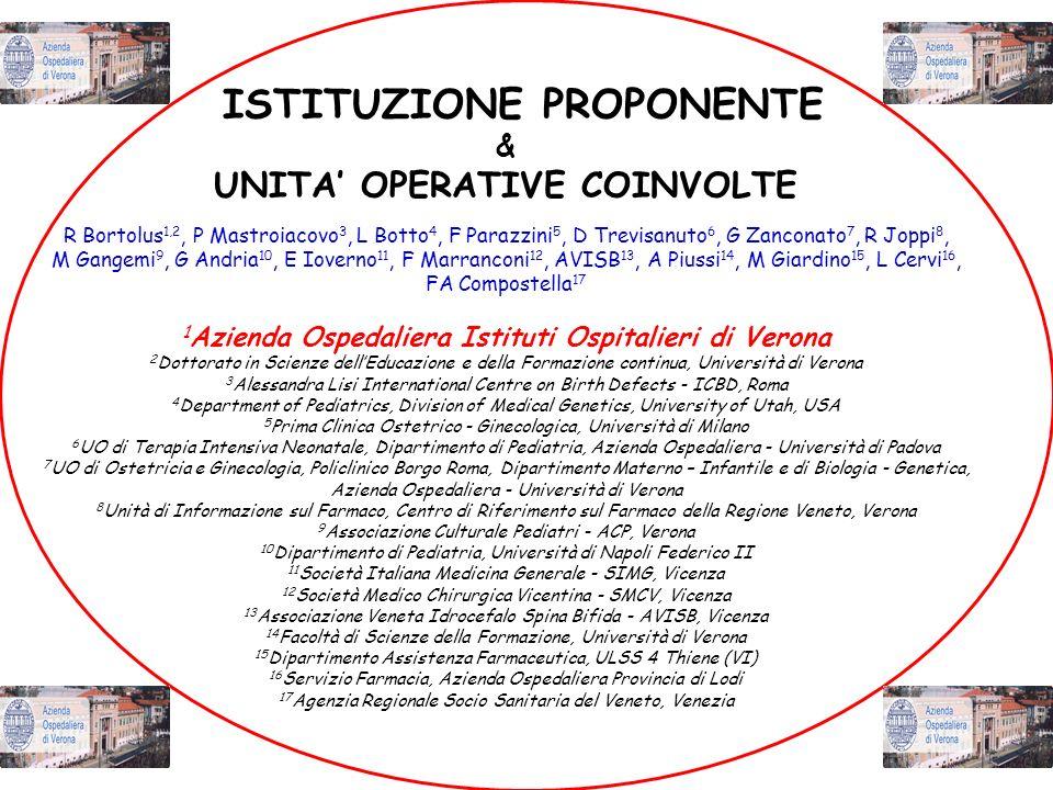 ISTITUZIONE PROPONENTE UNITA' OPERATIVE COINVOLTE