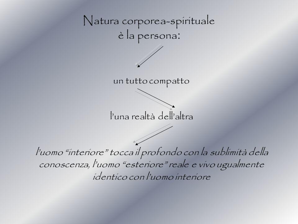 Natura corporea-spirituale è la persona: