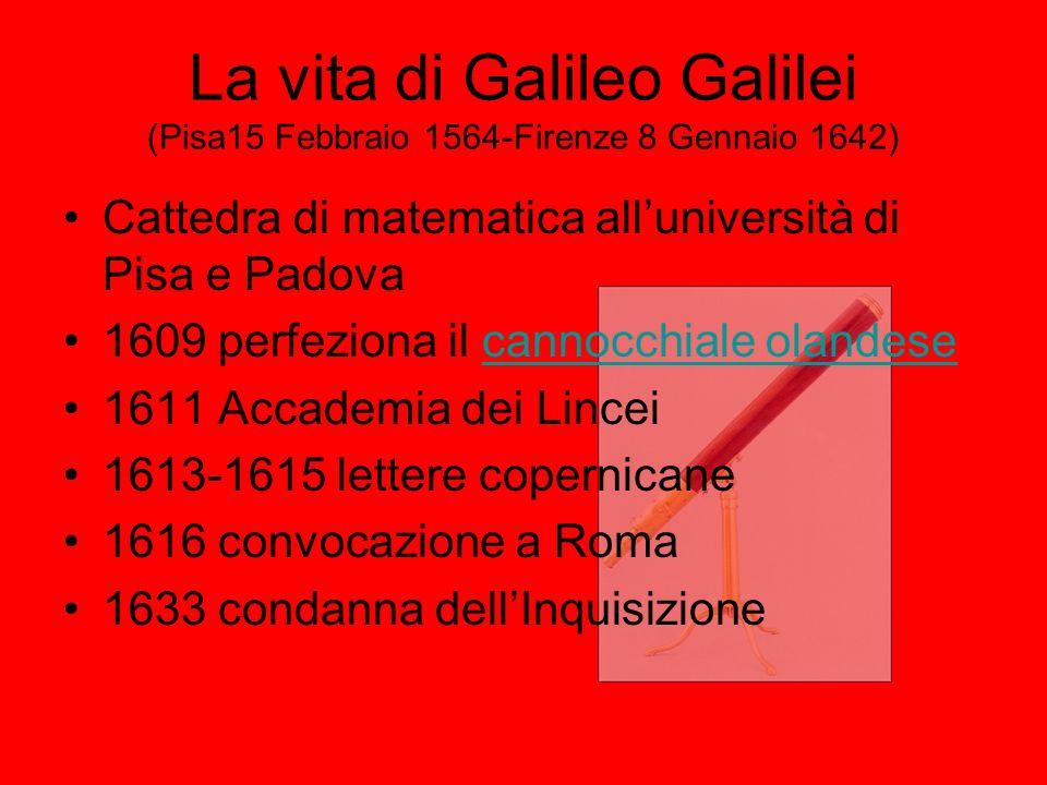 La vita di Galileo Galilei (Pisa15 Febbraio 1564-Firenze 8 Gennaio 1642)