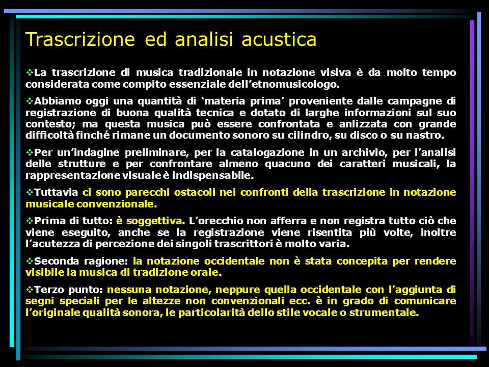 Trascrizione ed analisi acustica