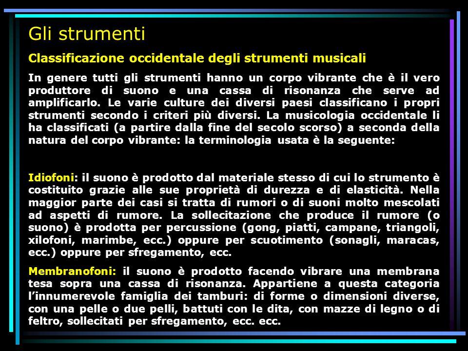 Gli strumenti Classificazione occidentale degli strumenti musicali