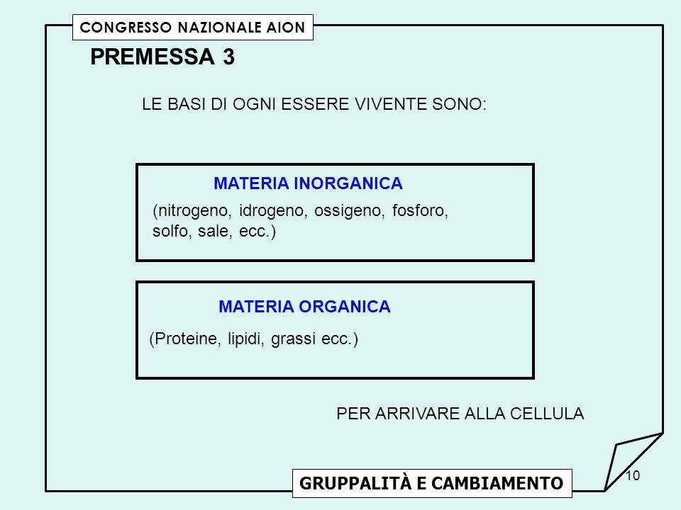 PREMESSA 3 LE BASI DI OGNI ESSERE VIVENTE SONO: MATERIA INORGANICA