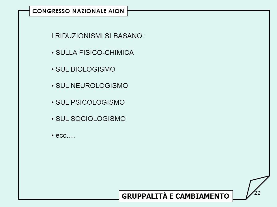 I RIDUZIONISMI SI BASANO : SULLA FISICO-CHIMICA SUL BIOLOGISMO