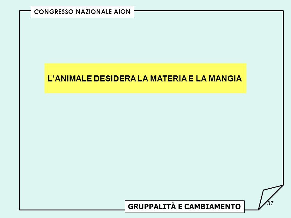 L'ANIMALE DESIDERA LA MATERIA E LA MANGIA