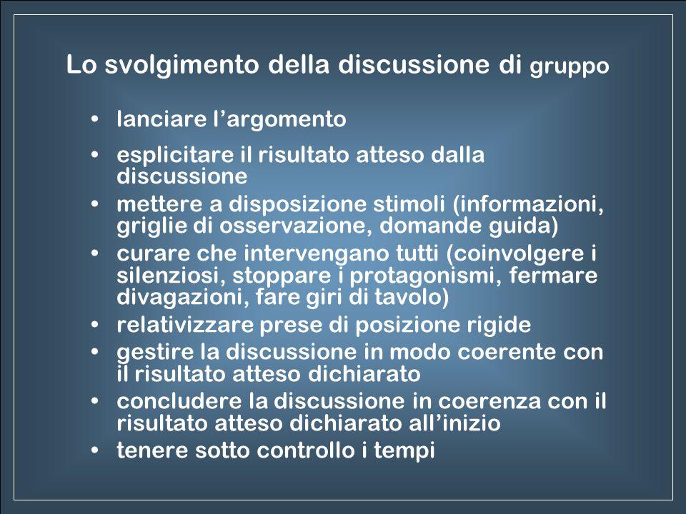 Lo svolgimento della discussione di gruppo