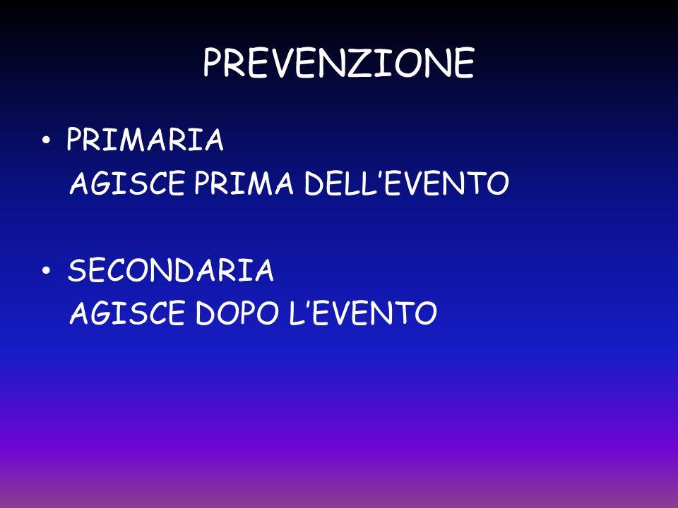 PREVENZIONE PRIMARIA AGISCE PRIMA DELL'EVENTO SECONDARIA