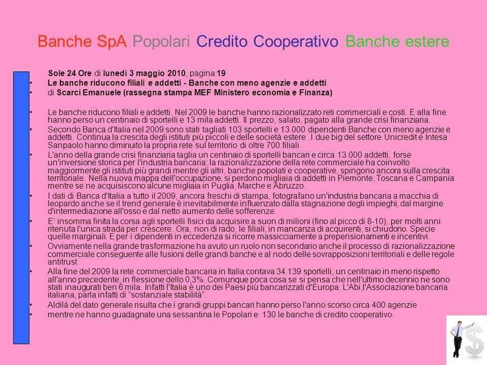Banche SpA Popolari Credito Cooperativo Banche estere