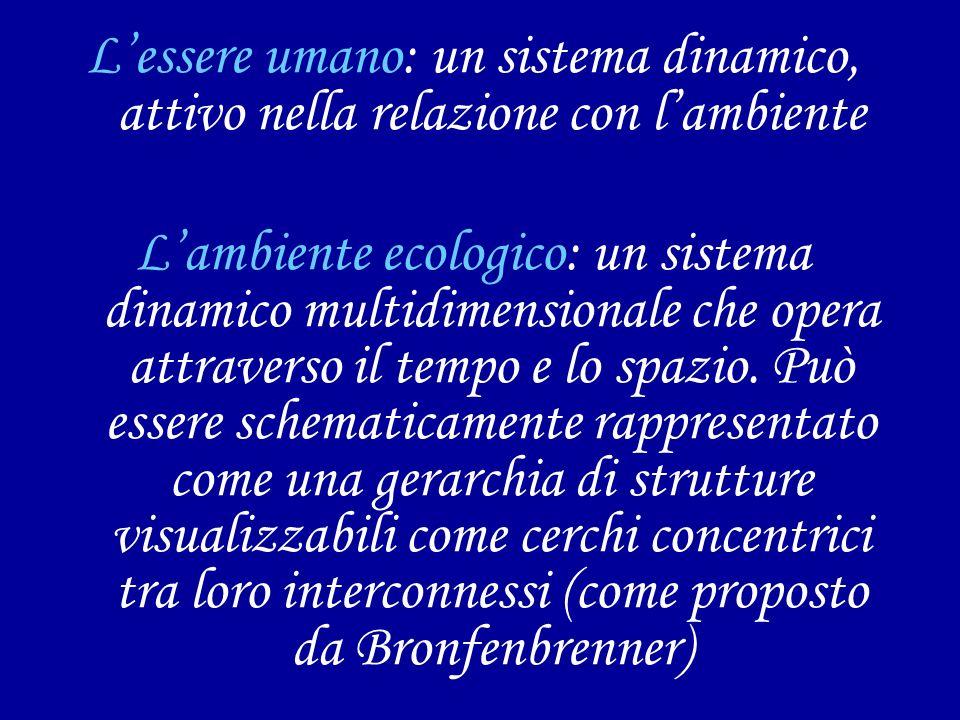 L'essere umano: un sistema dinamico, attivo nella relazione con l'ambiente