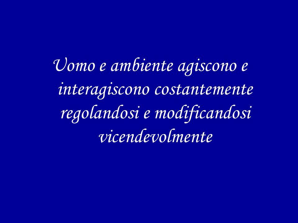 Uomo e ambiente agiscono e interagiscono costantemente regolandosi e modificandosi vicendevolmente