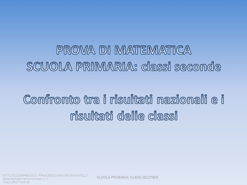 SCUOLA PRIMARIA: CLASSI SECONDE