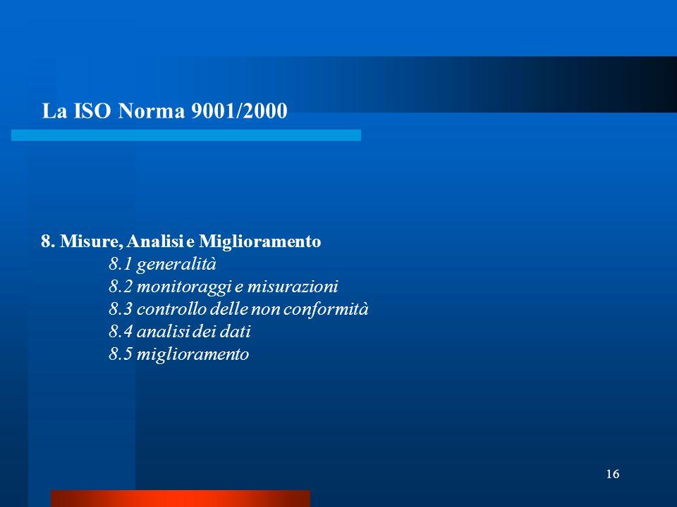 La ISO Norma 9001/2000 8. Misure, Analisi e Miglioramento
