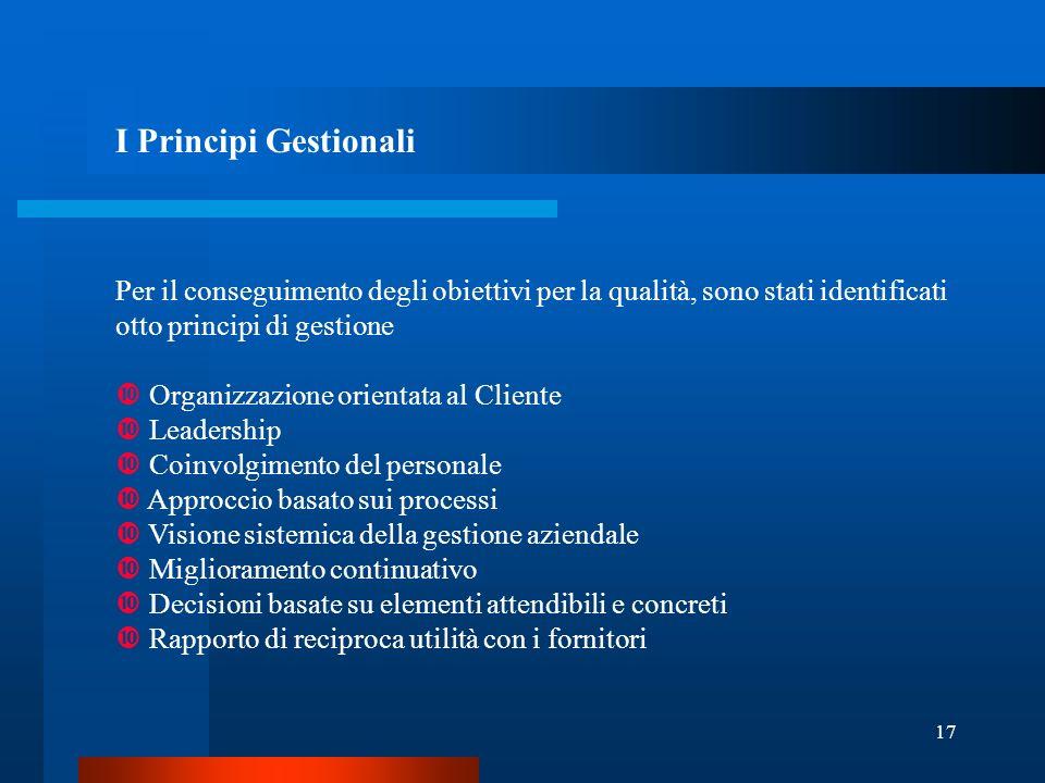I Principi Gestionali Per il conseguimento degli obiettivi per la qualità, sono stati identificati otto principi di gestione.
