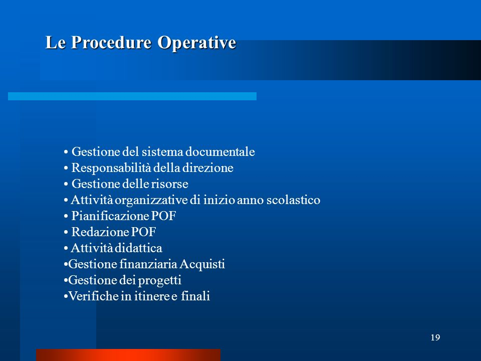 Le Procedure Operative