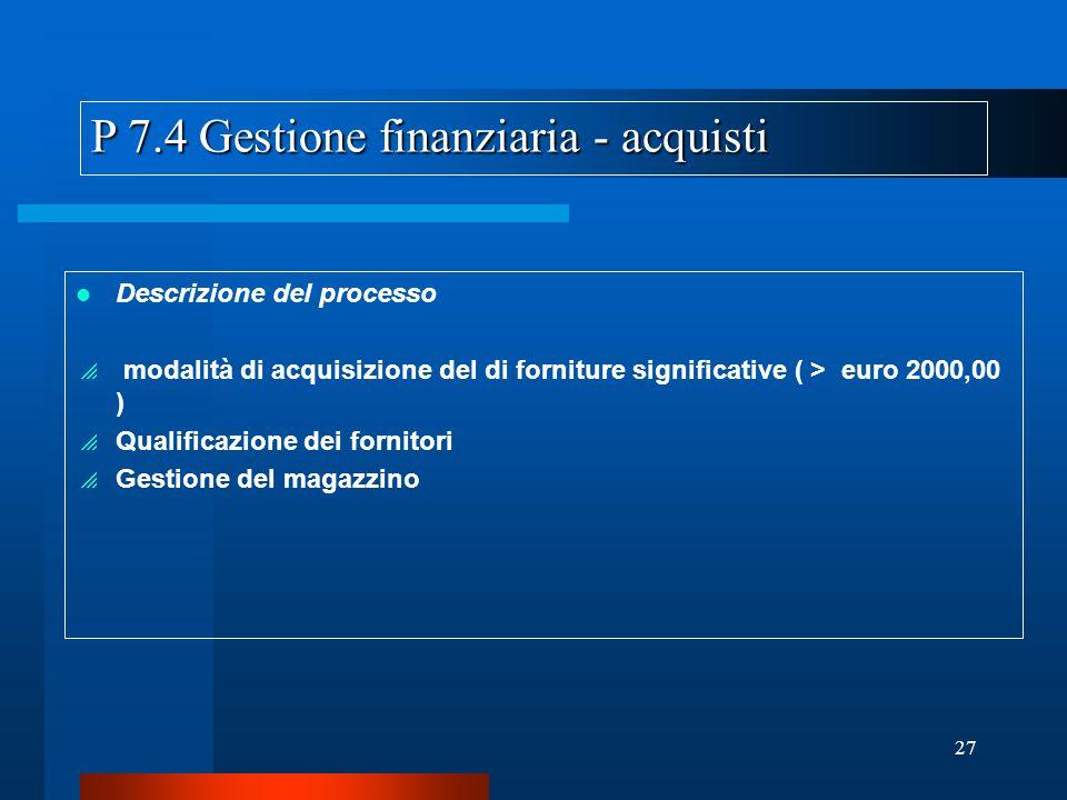 P 7.4 Gestione finanziaria - acquisti