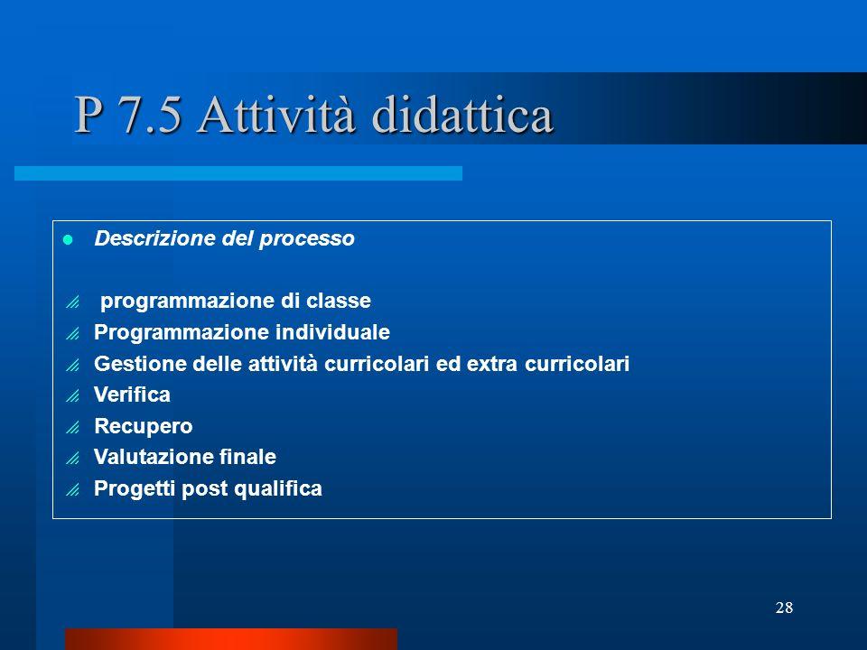 P 7.5 Attività didattica Descrizione del processo